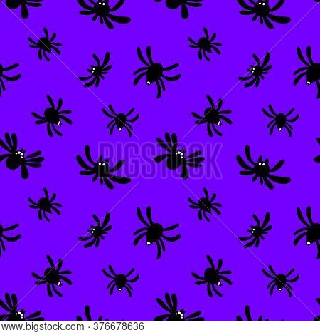 Seamless Pattern Of Silhouette Of A Spider On A Purple Background.cute Spider Pattern.halloween Patt