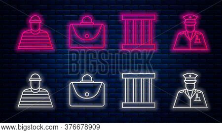 Set Line Briefcase, Prison Window, Prisoner And Police Officer. Glowing Neon Icon On Brick Wall. Vec