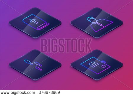 Set Isometric Line Holy Bible Book, Footsteps, Lawyer, Attorney, Jurist And Lawsuit Paper. Blue Squa