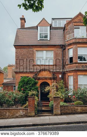 London, Uk - July 02, 2020: Facade Of Traditional English House In Hampstead, An Affluent Residentia