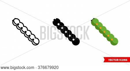 Caterpillar Icon Of 3 Types. Isolated Vector Sign Symbol.