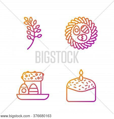 Set Line Easter Cake And Candle, Easter Cake And Eggs, Willow Leaf And Easter Egg In A Wicker Nest.