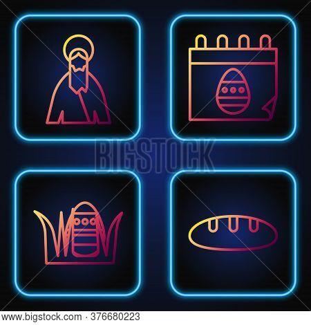 Set Line Bread Loaf, Easter Egg, Jesus Christ And Calendar With Easter Egg. Gradient Color Icons. Ve