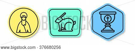 Set Line Jesus Christ, Easter Rabbit And Christian Chalice. Colored Shapes. Vector