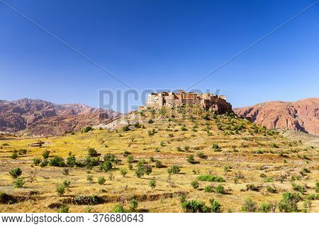 Morocco. Tizourgane Kasbah. Anti Atlas Mountains. Kasbah Traditional Building In Eastern. Mountain V