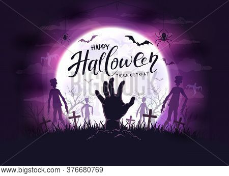 Hand Sticks Out Of Ground And Silhouettes In Cemetery. Dark Purple Night Background With Zombie, Bat