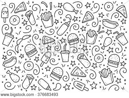 Hand Drawn Set Of Fast Food Elements, Burger, Pizza, Sandwich, Hamburger, Snack. Comic Doodle Sketch