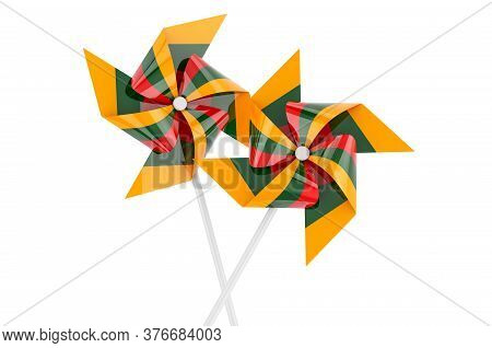 Pinwheel With Lithuanian Flag, 3d Rendering Isolated On White Background