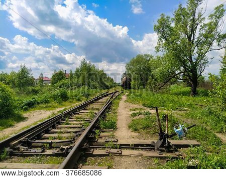 Landscape with the image of railroad tracks