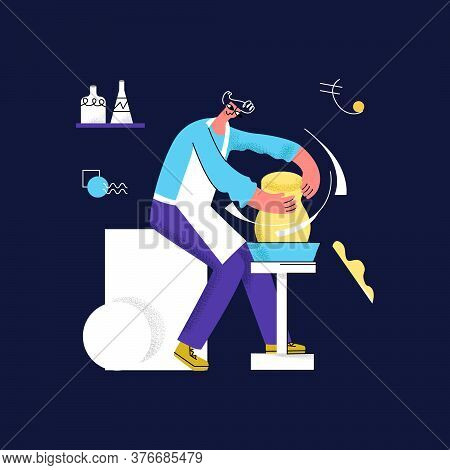 Vector Flat Illustration With Male Potter Who Makes Pitcher, Vase. Concept Of Handicrafts, Pottery,