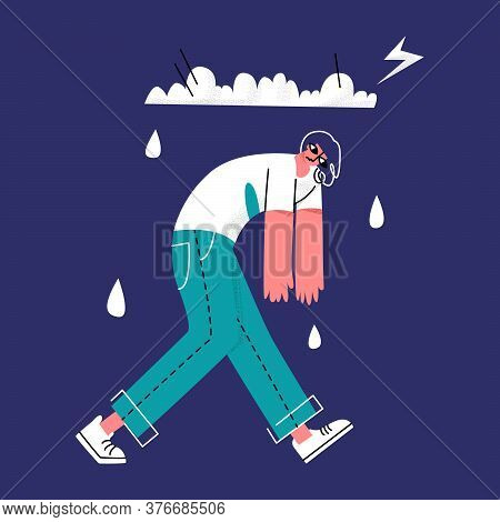 Vector Flat Illustration Sad Man Walking Under Rainy Cloud With Thunderstorm. Concept Depression, Ap