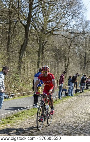 Wallers,france - April 12,2015: The French Cyclist, Cyril Lemoine Of Cofidis Team Riding On A Cobble