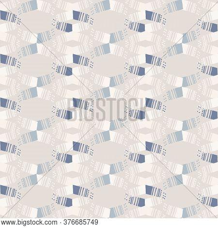 Seamless Geometric Chevron Stripe Pattern. French Blue Linen Shabby Chic Style. Hand Drawn Texture.