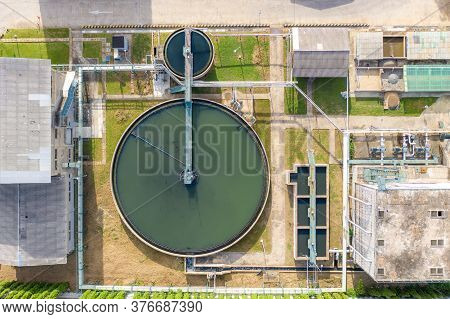 Top View Of Recirculation Solid Contact Clarifier Sedimentation Tank. Industrial Water Treatment In