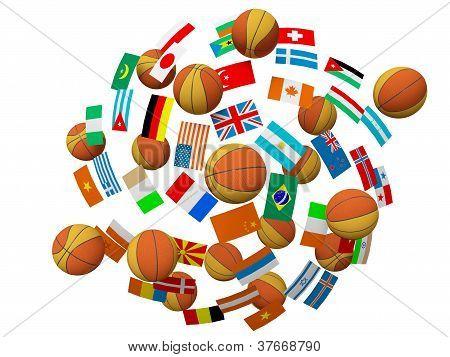 Basketball Balls And Flags