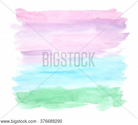 Bright Horizontal Green, Blue, Purple And Pink Watercolor Landscape Background, Wash Technique. Abst