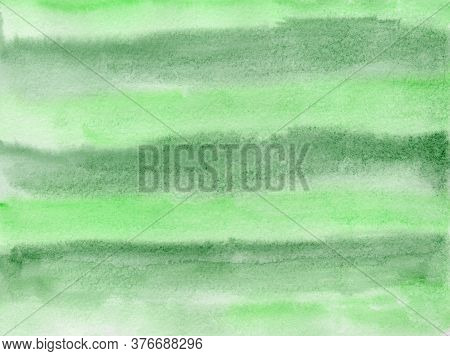 Bright Expressive Striped Light And Dark Green Gradient Wet Watercolor Texture Background, Wash Tech
