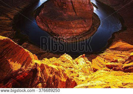 Arizona Horseshoe Bend Of Colorado River In Grand Canyon. Colorado Canyon. Colorado River