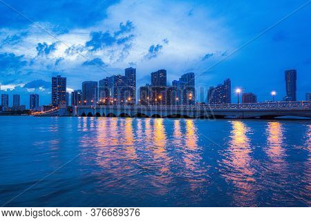 Beautiful City Of Miami Florida Skyline And Bay With Night Clouds. Miami Night Downtown, City Florid