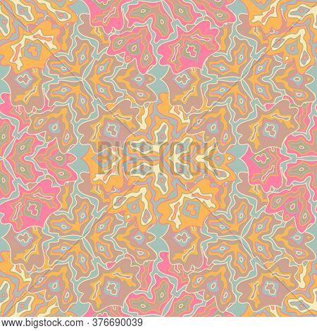 Trendy Floral Seamless Pattern In Bright Summer Positive Colors. Mandala Medallion Fluid Petals Orna