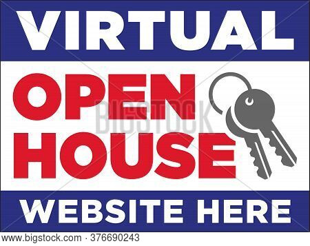 Virtual Open House Sign Template | Real Estate Signage Advertising 3d Home Tours | Property Manageme