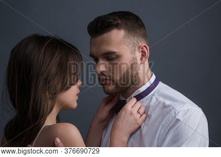 Sensual Couple In Love. Boyfriend And Girlfriend In Love Close Up. I Love You. Passion And Sensual T