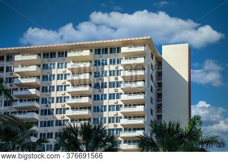 Balconies On White Condos On The Fort Lauderdale Intracoastal Waterway