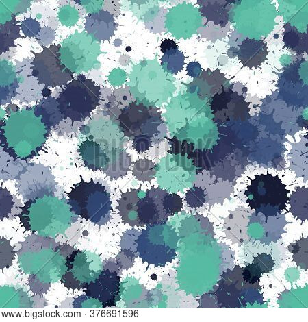 Watercolor Blue Paint Transparent Stains Vector Seamless Wallpaper Pattern. Colored Ink Splatter, Sp