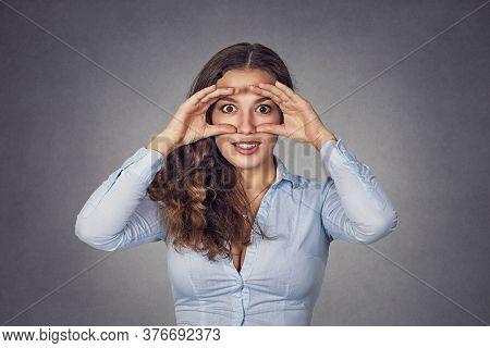 Closeup Portrait, Headshot Young Woman, Peeking Through Fingers Like Binoculars  Surprised Shocked S