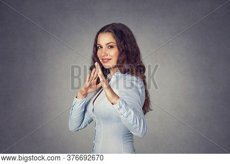 Closeup Portrait Of Humorous, Cute Cheerful Woman With Smile On Face Raising Hands In The Air With K