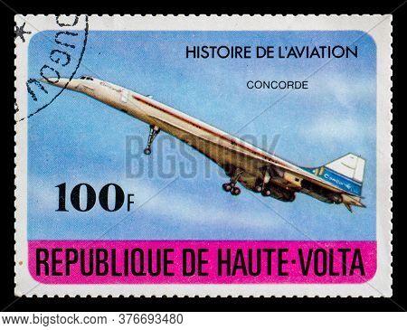Burkina Faso - Circa 1978: A Postage Stamp From Republique De Haute-volta Showing Bac Concorde Aircr