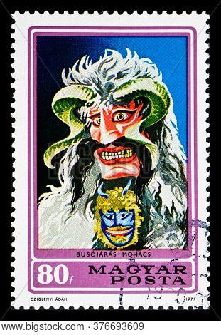 Hungary - Circa 1973: A Postage Stamp From Hungary Showing Annual Celebration Busojaras Mohacs