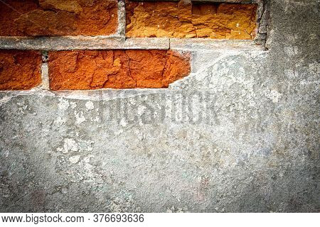 Chip Paint. Vintage Grunge Plaster Or Concrete Stucco Surface. Old Rough Stone On Cement Pattern Wal