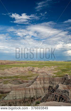Big Badlands Overlook In Badlands National Park, As A Thunderstorm Rolls In