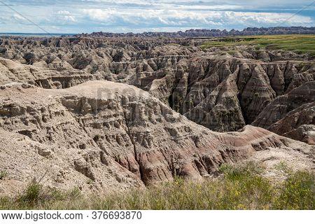 The Big Badlands Overlook In Badlands National Park In South Dakota During Summer