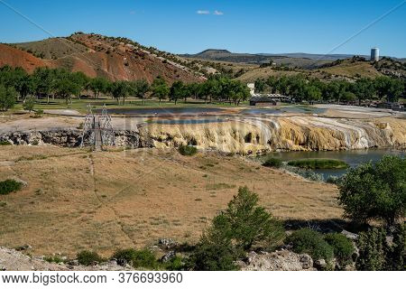 View Of Hot Springs State Park In Thermopolis, Wyoming, A Geothermal Area In Hot Springs County