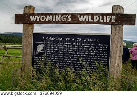 Alpine, Wyoming - June 25, 2020: Sign For Wyoming Wildlife, Giving Information On Early Native Ameri