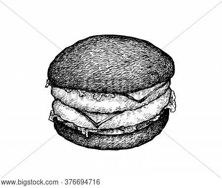Illustration Hand Drawn Sketch Of Delicious Charcoal Burger Or Beef Burgery With Lettuce, Tomato, On