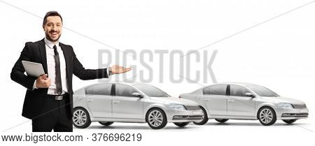 Salesman representative showing a car showroom isolated on white background