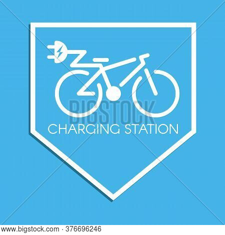 E-bicycle Charging Station Sign. Electric Bicycle Symbol. Charge Point Pictogram. Vector Illustratio