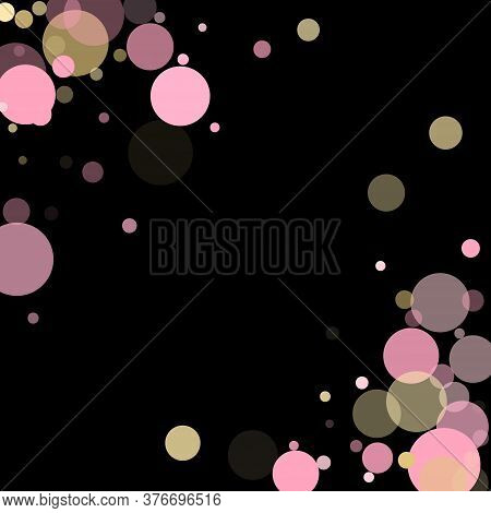 Pink Gold Party Confetti Circle Decoration For Party Poster Background. Bokeh Lights Effect Vector.