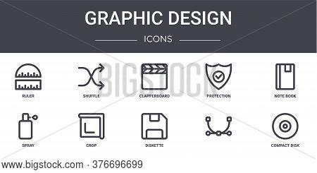 Graphic Design Concept Line Icons Set. Contains Icons Usable For Web, Logo, Ui Ux Such As Shuffle, P