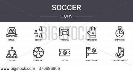 Soccer Concept Line Icons Set. Contains Icons Usable For Web, Logo, Ui Ux Such As Soccer, Goalkeeper
