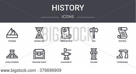 History Concept Line Icons Set. Contains Icons Usable For Web, Logo, Ui Ux Such As Hourglass, Axe, A