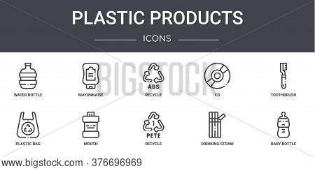 Plastic Products Concept Line Icons Set. Contains Icons Usable For Web, Logo, Ui Ux Such As Mayonnai