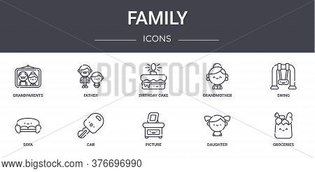 Family Concept Line Icons Set. Contains Icons Usable For Web, Logo, Ui Ux Such As Father, Grandmothe