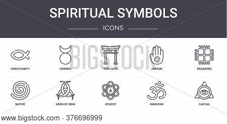 Spiritual Symbols Concept Line Icons Set. Contains Icons Usable For Web, Logo, Ui Ux Such As Horned,