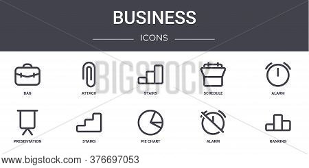 Business Concept Line Icons Set. Contains Icons Usable For Web, Logo, Ui Ux Such As Attach, Schedule