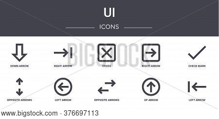 Ui Concept Line Icons Set. Contains Icons Usable For Web, Logo, Ui Ux Such As Right Arrow, Right Arr