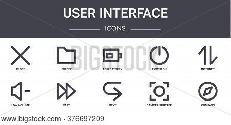 User Interface Concept Line Icons Set. Contains Icons Usable For Web, Logo, Ui Ux Such As Folder, Po